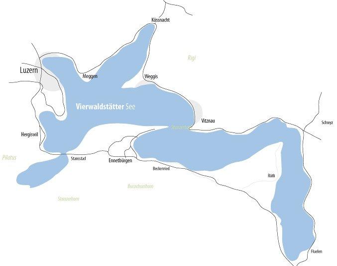 Bild zeigt eine Karte des Vierwaldstättersees